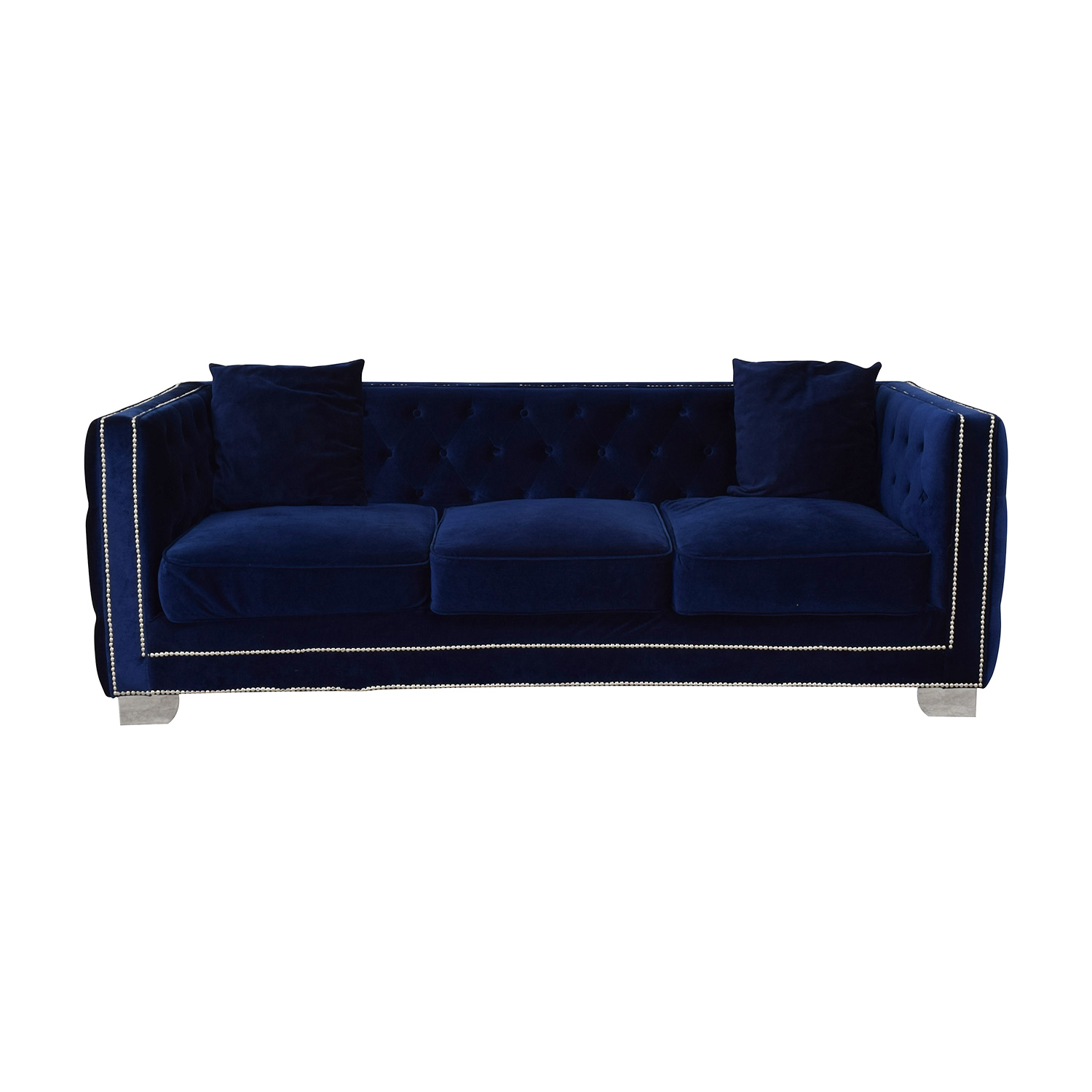 buy Ashley Furniture Blue Nailhead Three-Cushion Sofa Ashley Furniture
