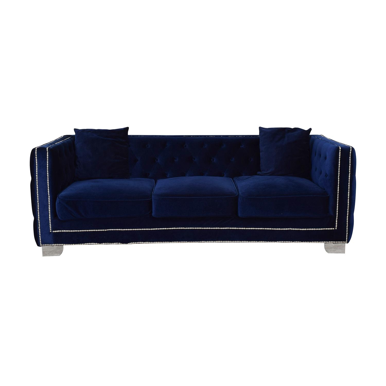 Ashley Furniture Ashley Furniture Blue Nailhead Three-Cushion Sofa blue