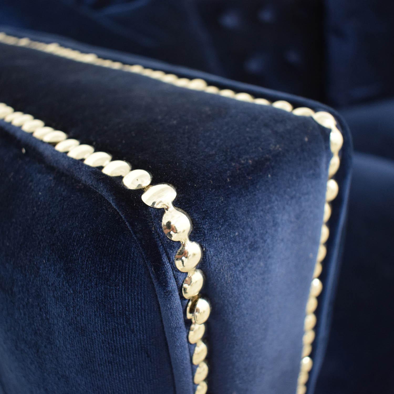 shop Ashley Furniture Tufted Nailhead Blue Two-Cushion Loveseat online