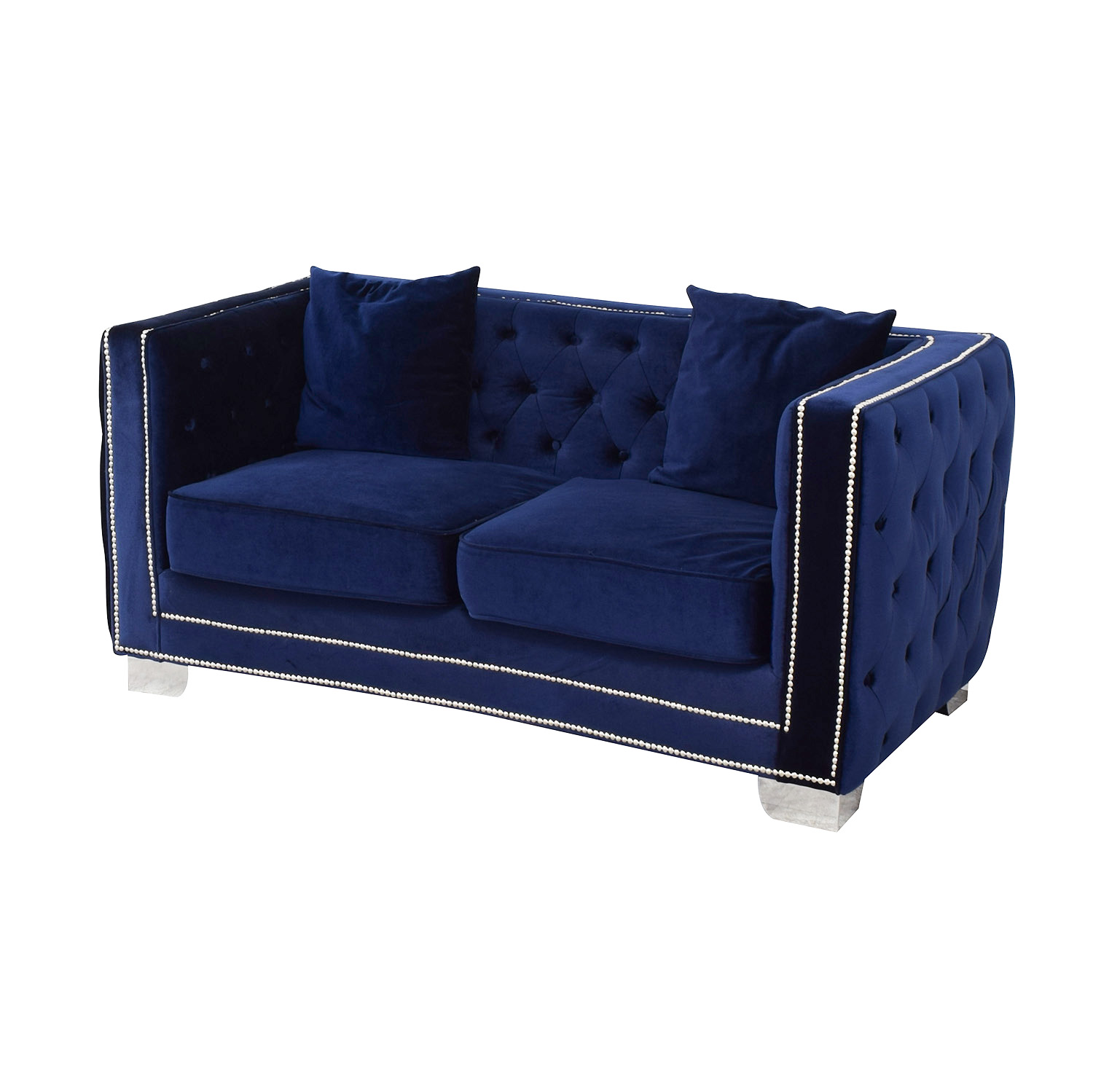 89% OFF - Ashley Furniture Ashley Furniture Blue Tufted Nailhead  Two-Cushion Loveseat / Sofas
