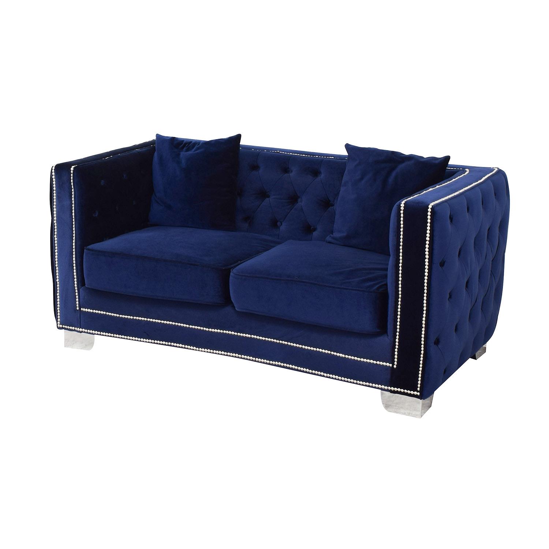 shop Tufted Nailhead Blue Two-Cushion Loveseat Ashley Furniture Sofas