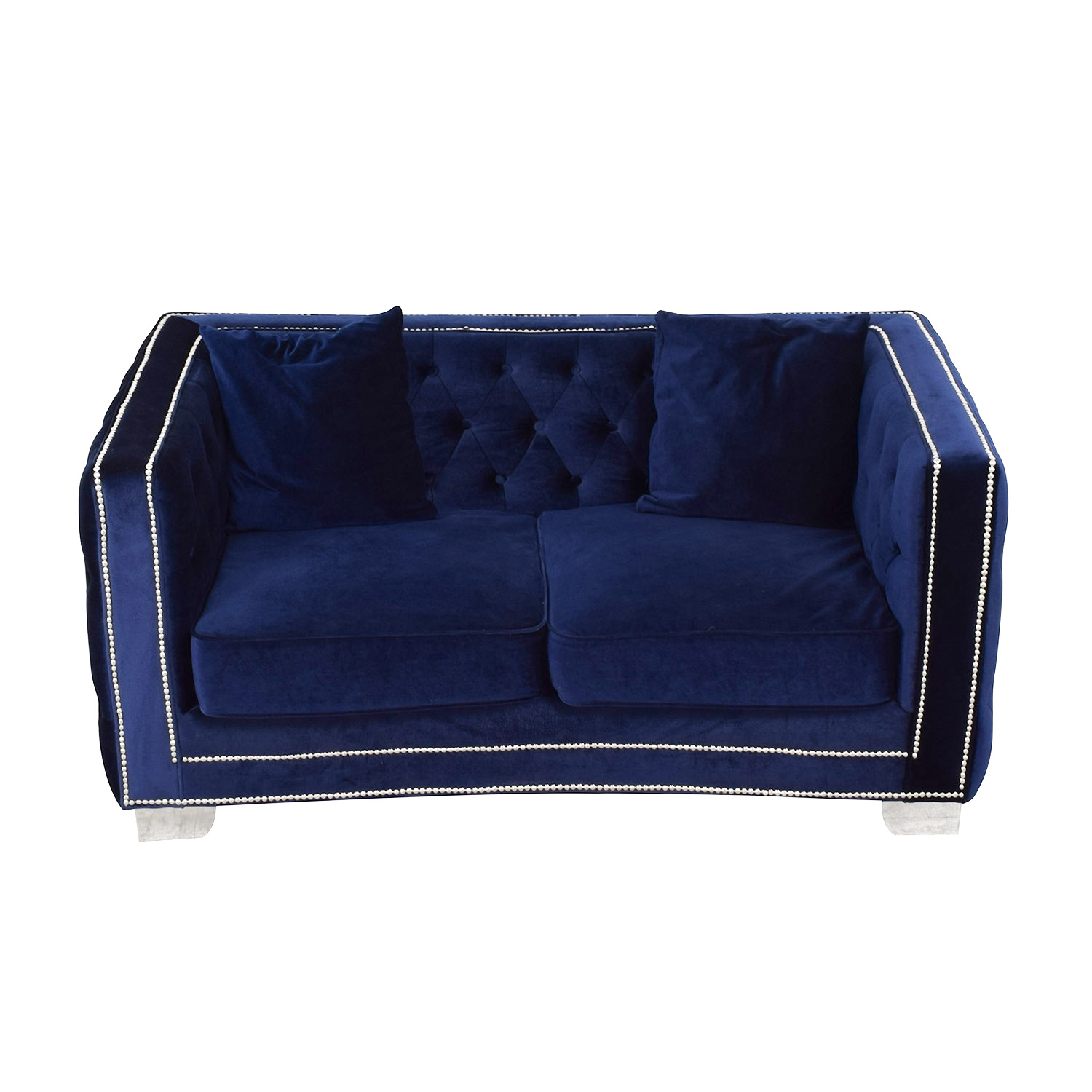 Tufted Nailhead Blue Two-Cushion Loveseat / Sofas