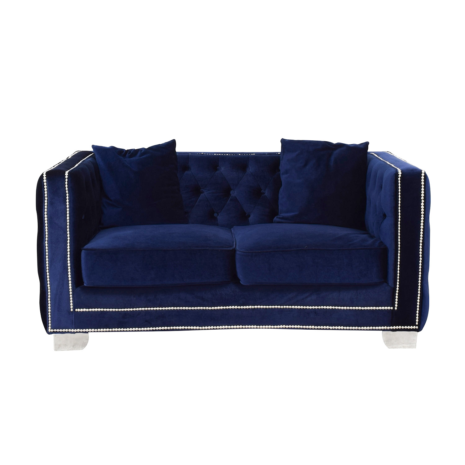 Ashley Furniture Tufted Nailhead Blue Two-Cushion Loveseat dimensions