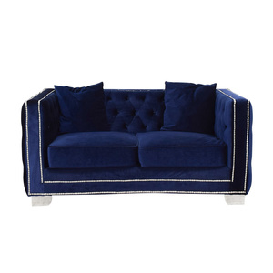 Ashley Furniture Ashley Furniture Blue Tufted Nailhead Two-Cushion Loveseat for sale