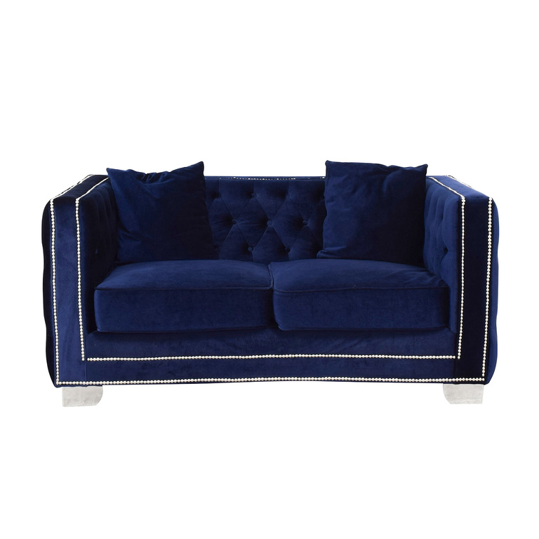 Ashley Furniture Tufted Nailhead Blue Two-Cushion Loveseat nyc