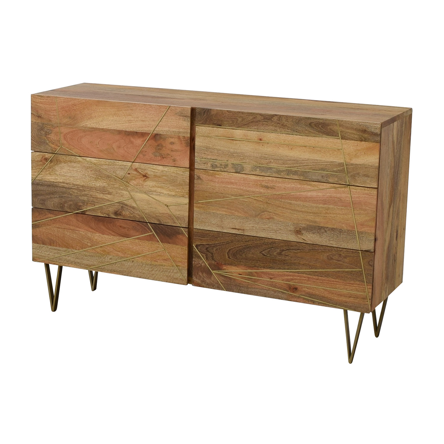 shop West Elm West Elm Roar + Rabbit Brass Geo Inlay Raw Mango Six-Drawer Dresser online