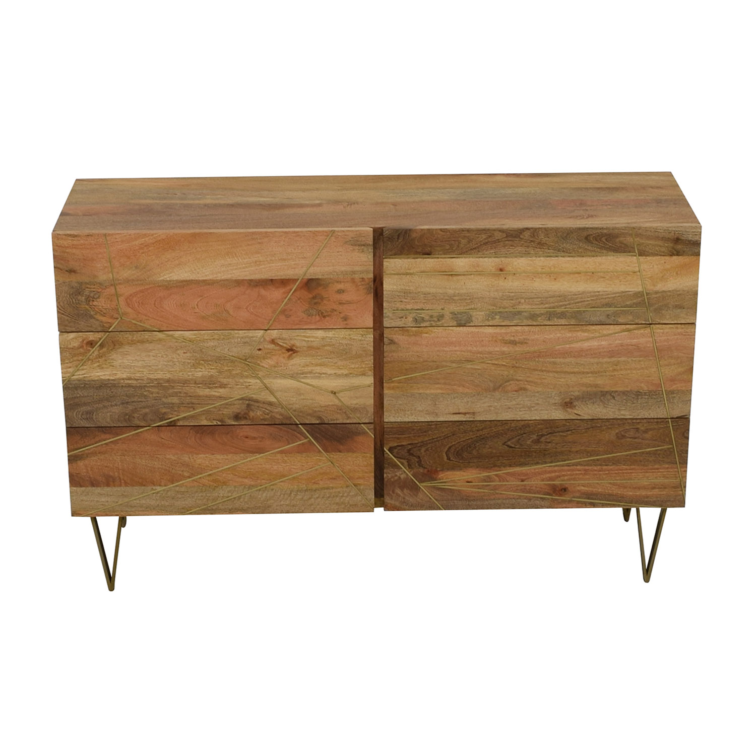 shop West Elm Roar + Rabbit Brass Geo Inlay Raw Mango Six-Drawer Dresser West Elm