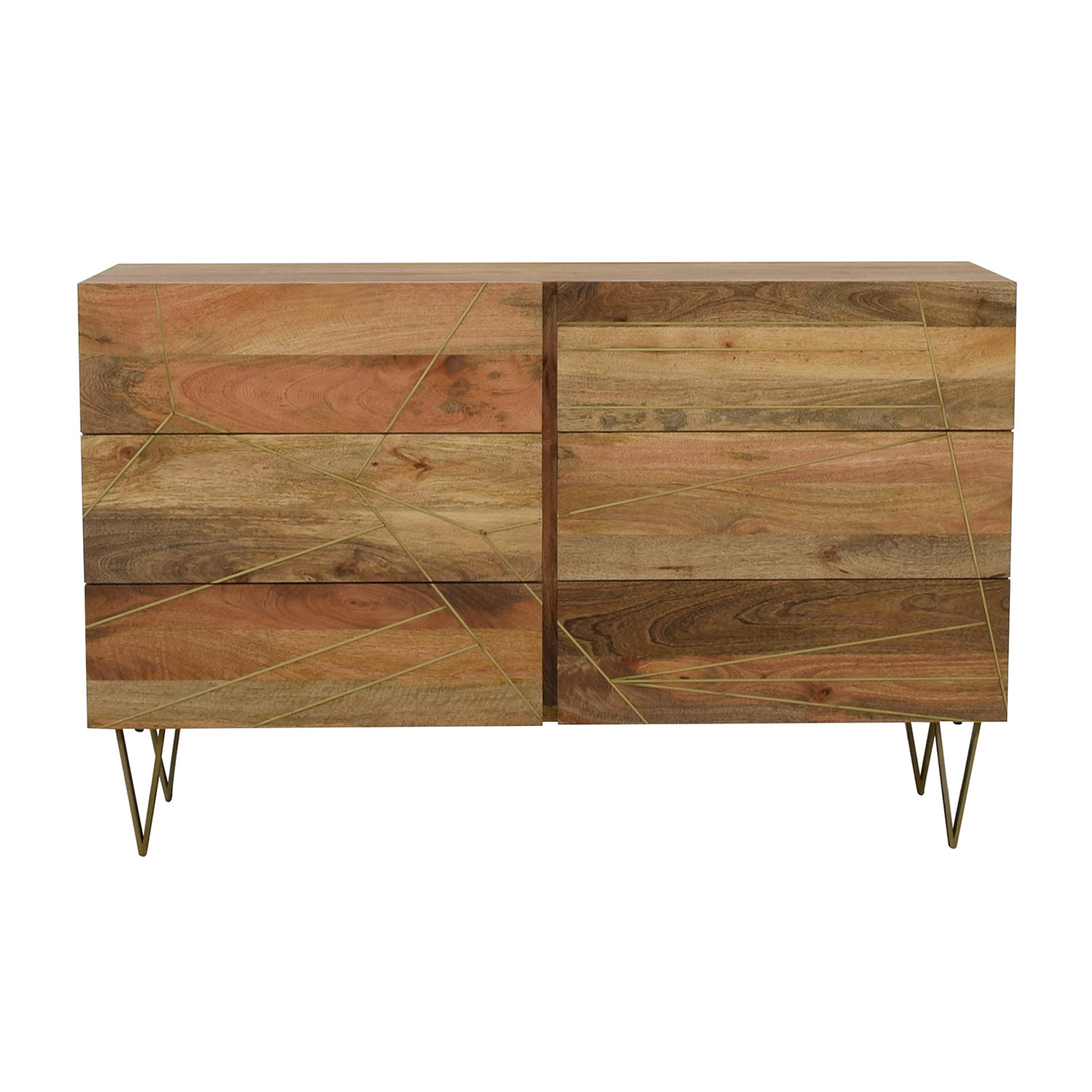 West Elm West Elm Roar + Rabbit Brass Geo Inlay Raw Mango Six-Drawer Dresser nj
