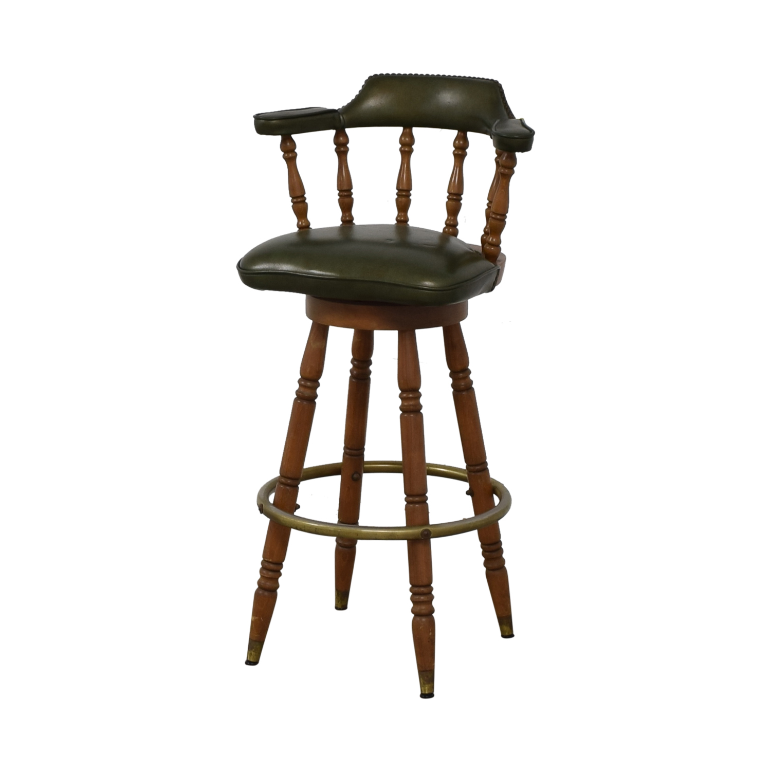 buy Vintage Green Leather Swivel Bar Stool  Stools