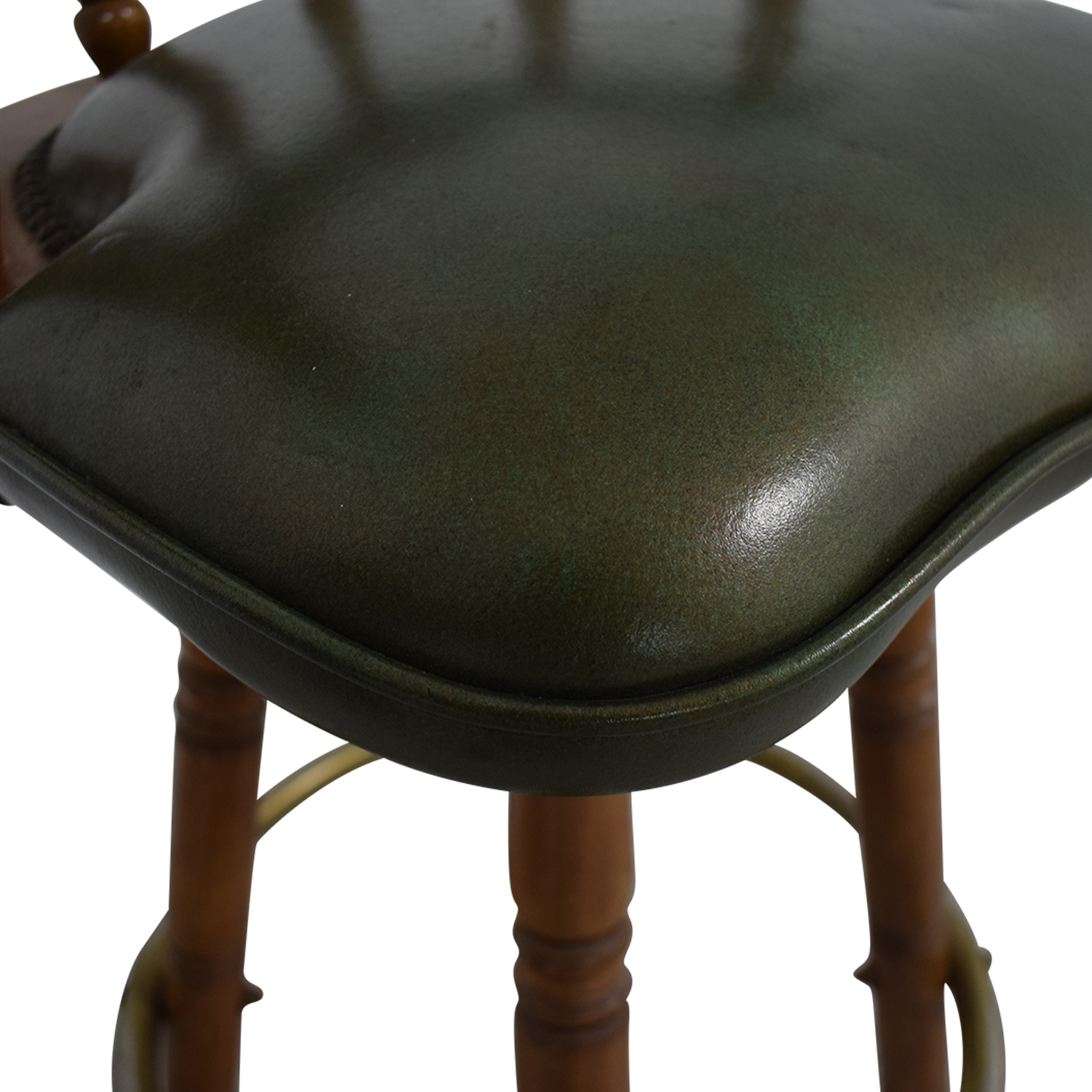 Vintage Green Leather Swivel Bar Stool Stools