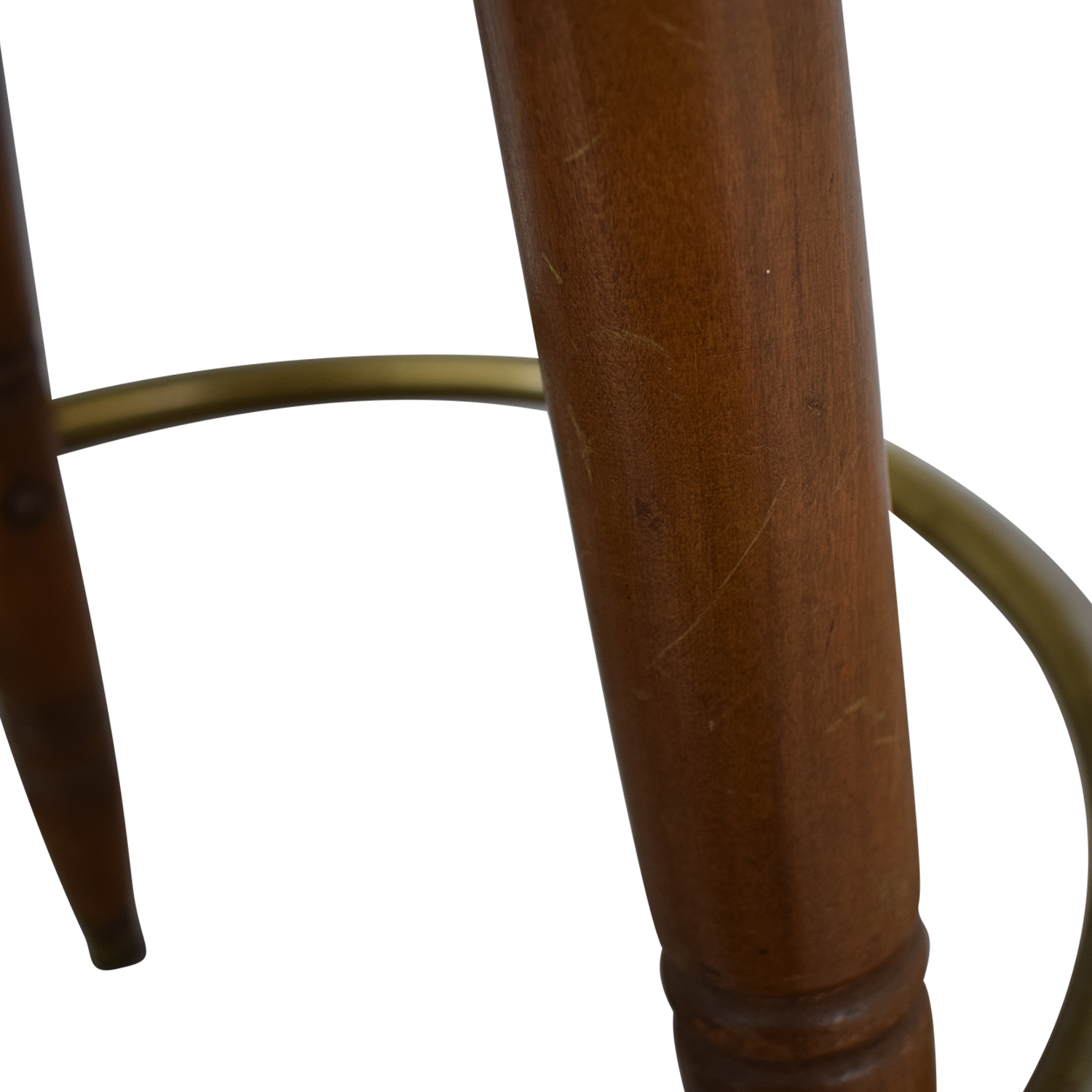 Vintage Green Leather Swivel Bar Stool second hand