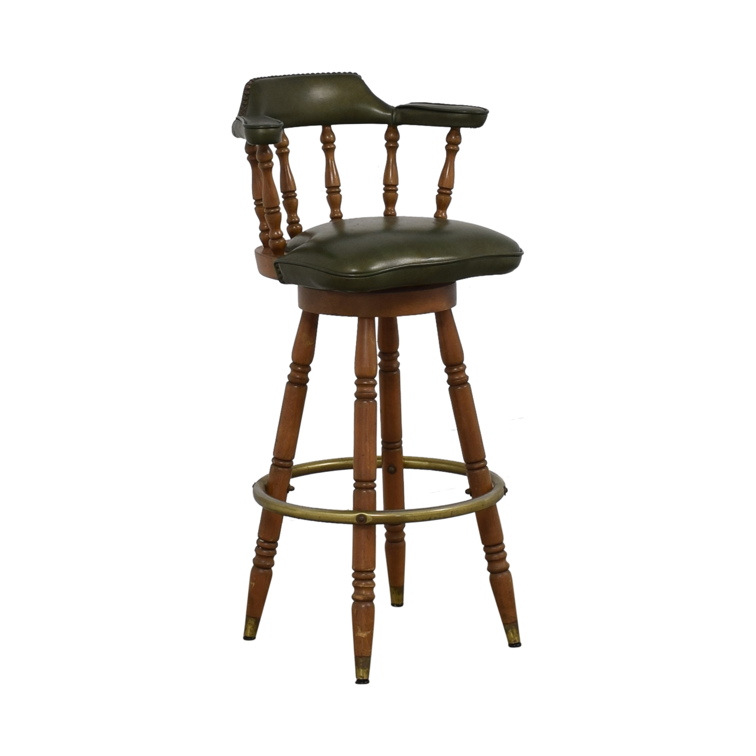 Vintage Green Leather Swivel Bar Stool used