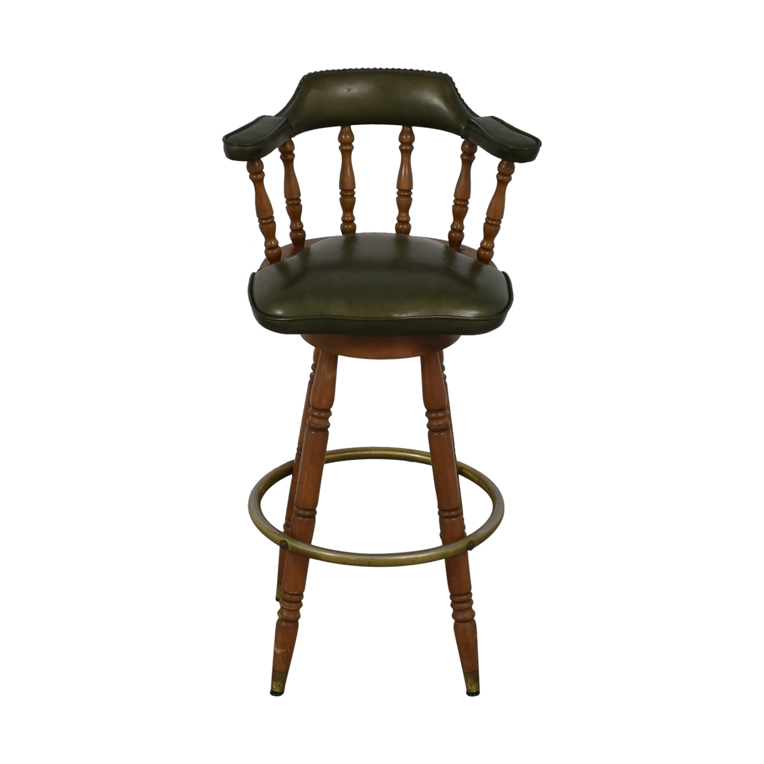 shop  Vintage Green Leather Swivel Bar Stool online
