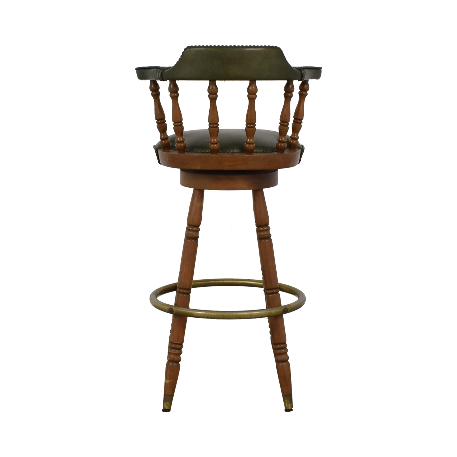 buy  Vintage Green Leather Swivel Bar Stool online