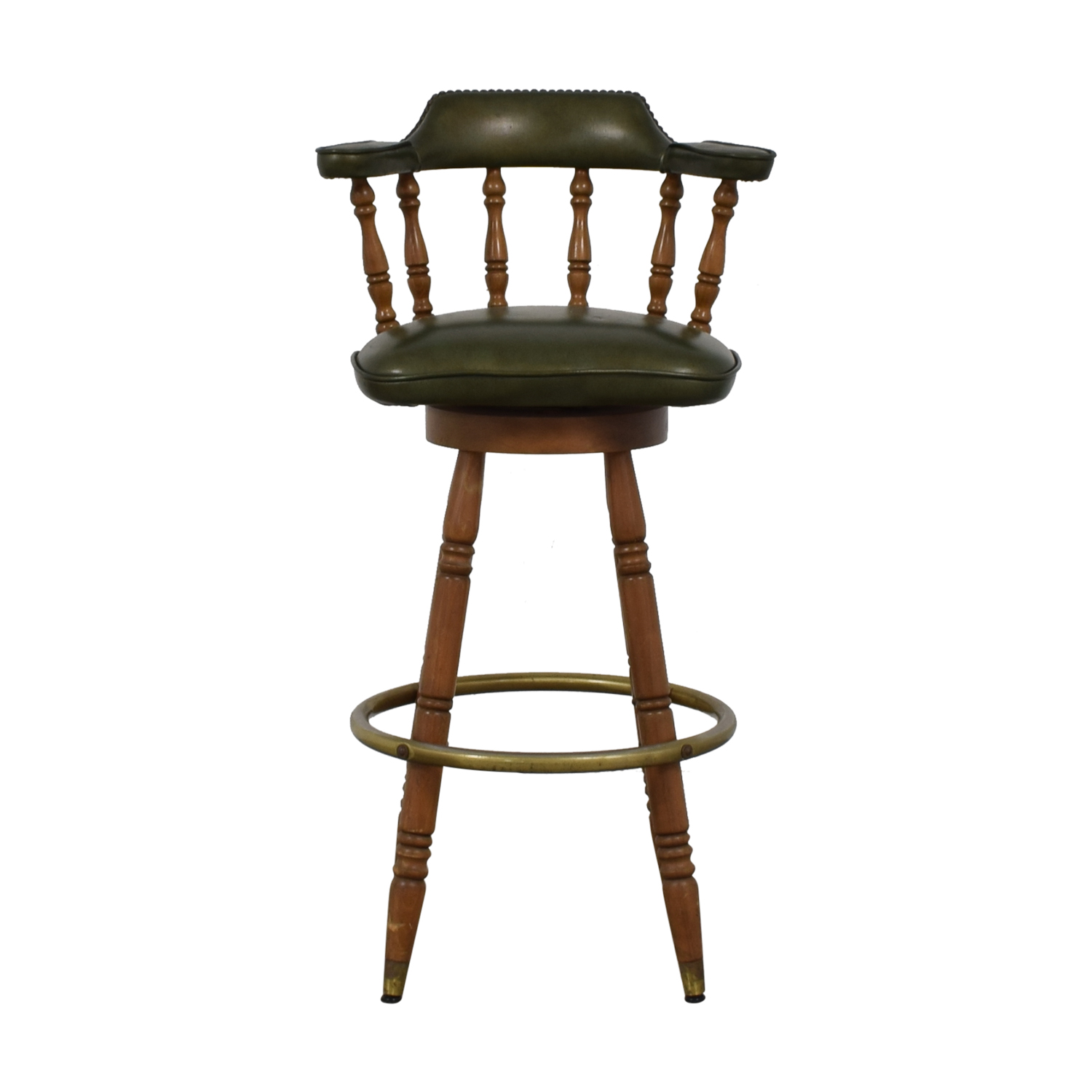 Vintage Green Leather Swivel Bar Stool
