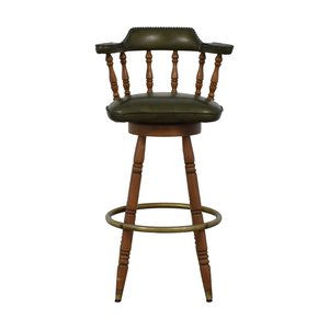shop Vintage Green Leather Swivel Bar Stool
