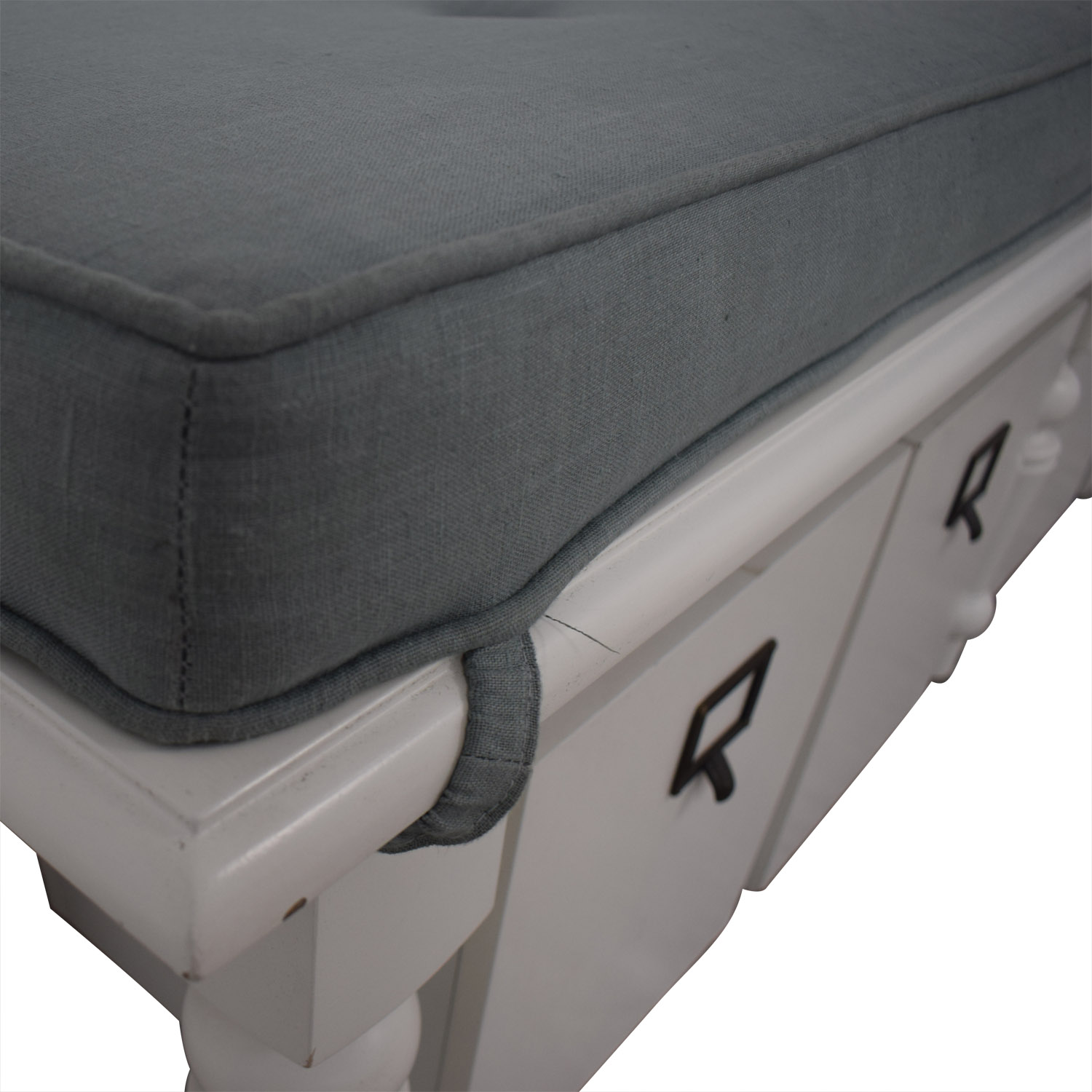 Home Goods Grey Upholstered and White Bench with Four Storage Boxes sale