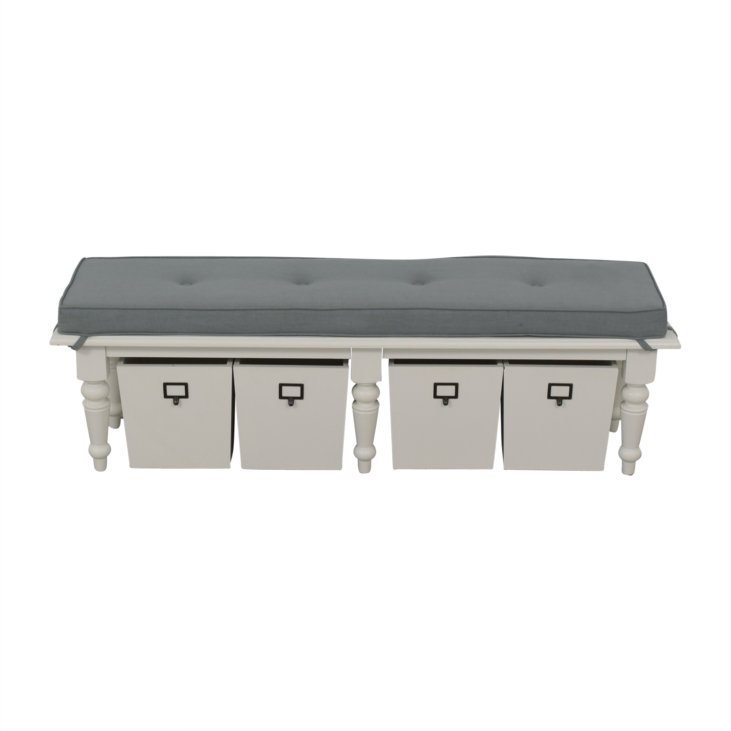 Home Goods Home Goods Grey Upholstered and White Bench with Four Storage Boxes dimensions