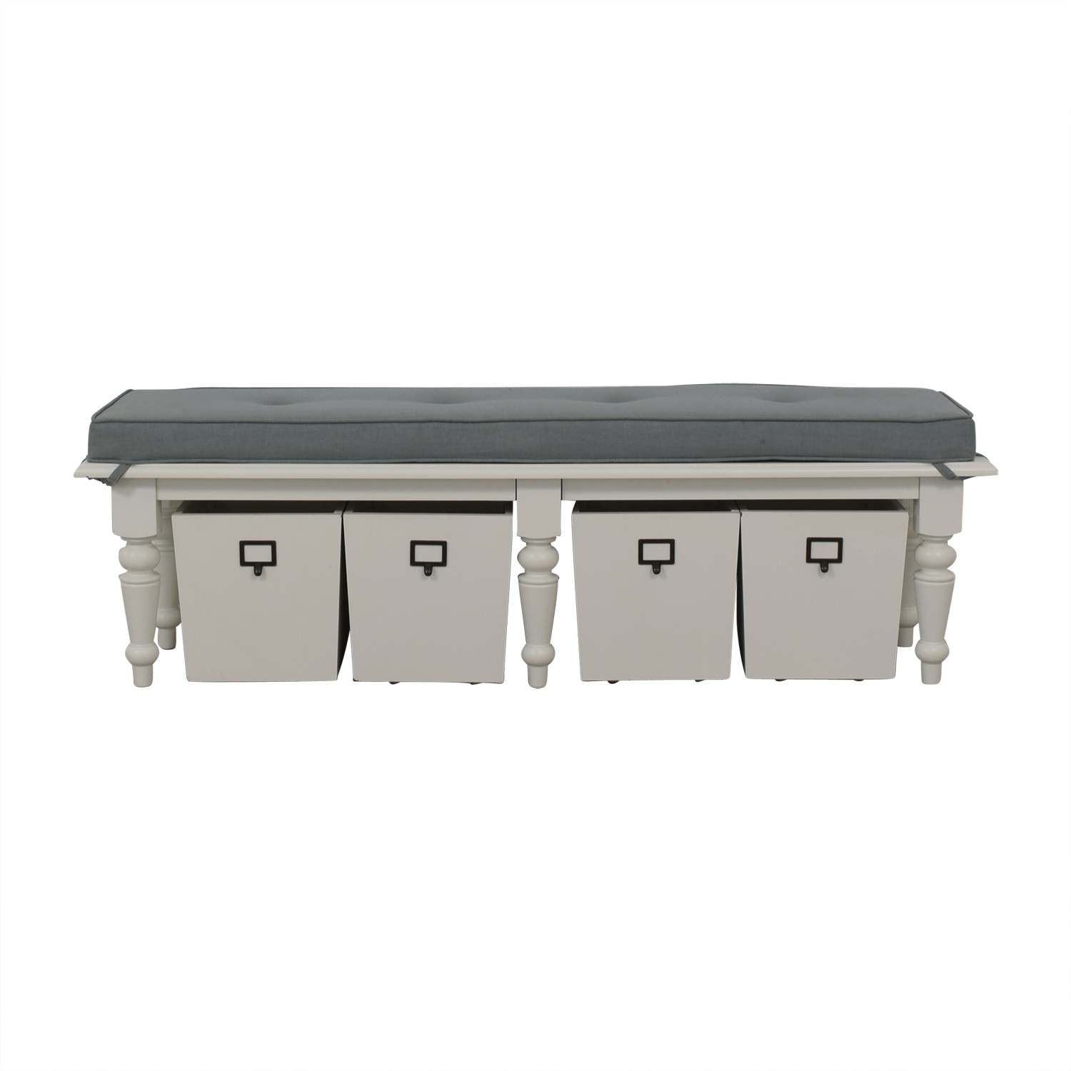 shop Home Goods Grey Upholstered and White Bench with Four Storage Boxes Home Goods Benches