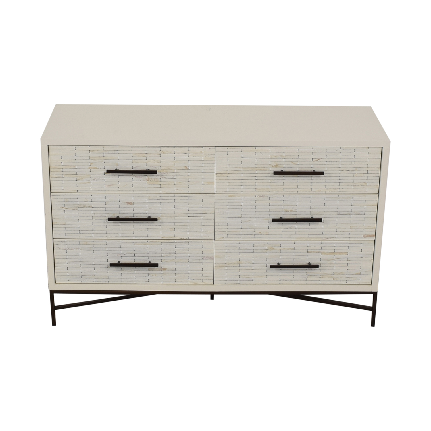 buy West Elm White Six-Drawer Dresser West Elm