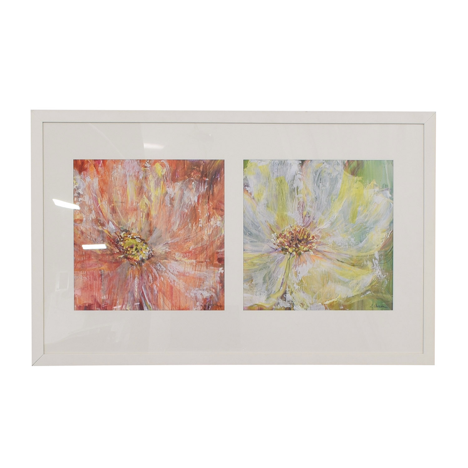 Flowers White Framed Wall Art white