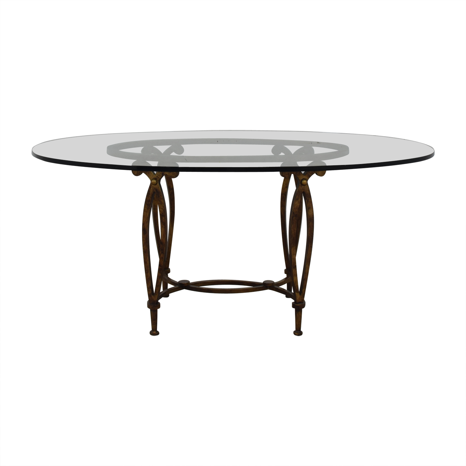 Bloomingdale's Bloomingdale's Glass Top Dining Room Table second hand
