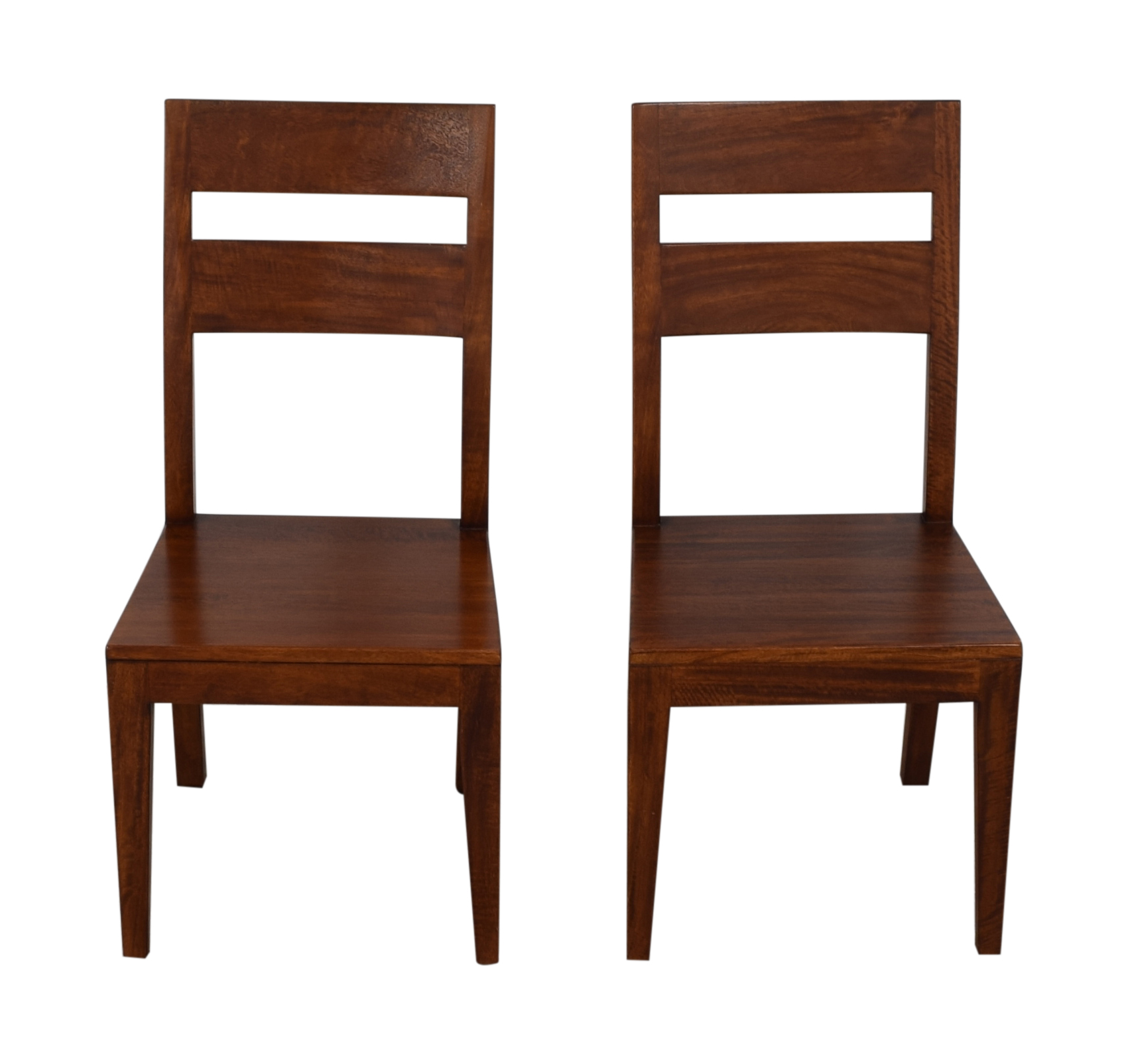 Crate & Barrel Basque Honey Wood Dining Chairs Crate & Barrel