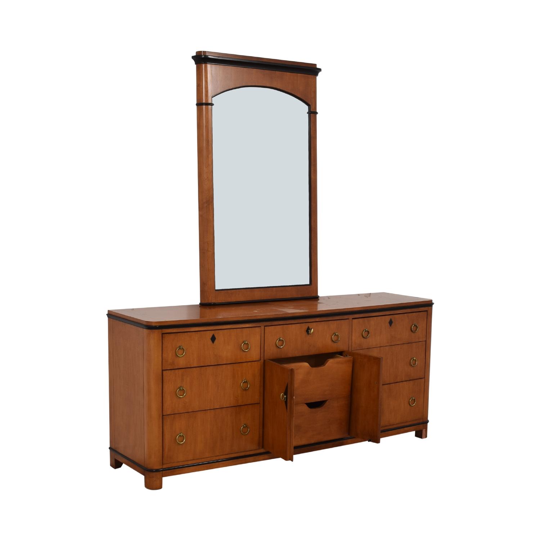 shop Biedermeier National Mt Airy Nine Drawer Dresser with Mirror Biedermeier Dressers