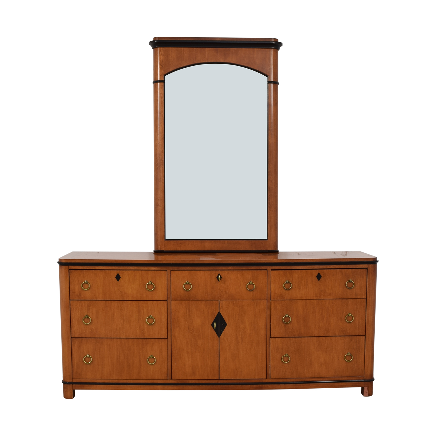 Biedermeier Biedermeier National Mt Airy Nine Drawer Dresser with Mirror for sale