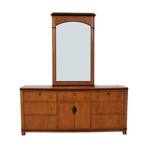 Biedermeier National Mt Airy Nine Drawer Dresser with Mirror Biedermeier
