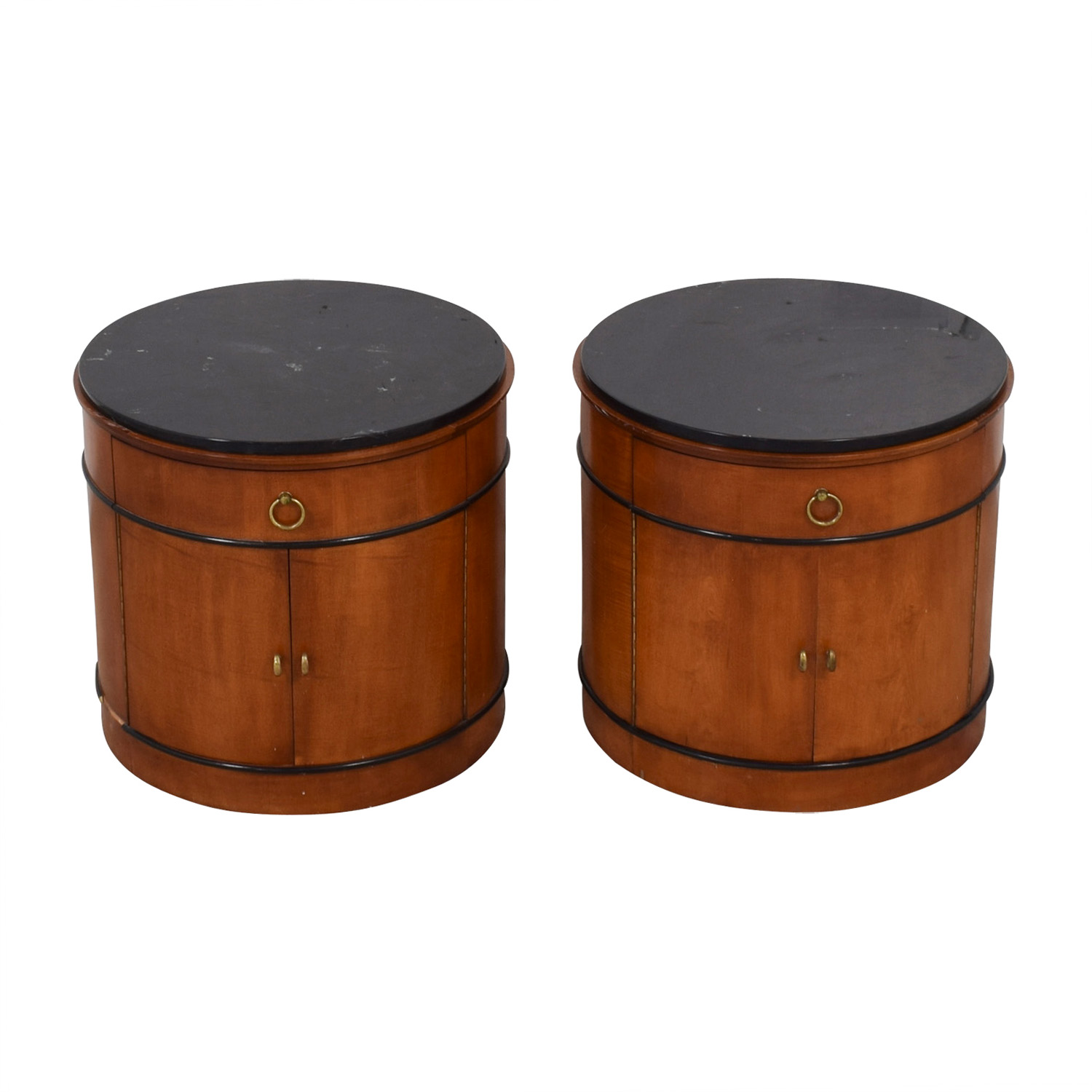 64 Off Mount Airy National Mt Round Drum End Tables