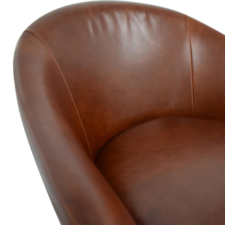 buy West Elm Bond Swivel Office Chair Leather Metal Base West Elm