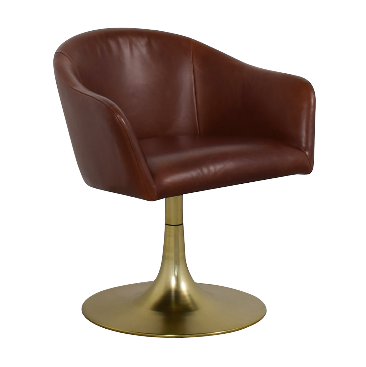 West Elm West Elm Bond Swivel Office Chair Leather Metal Base for sale