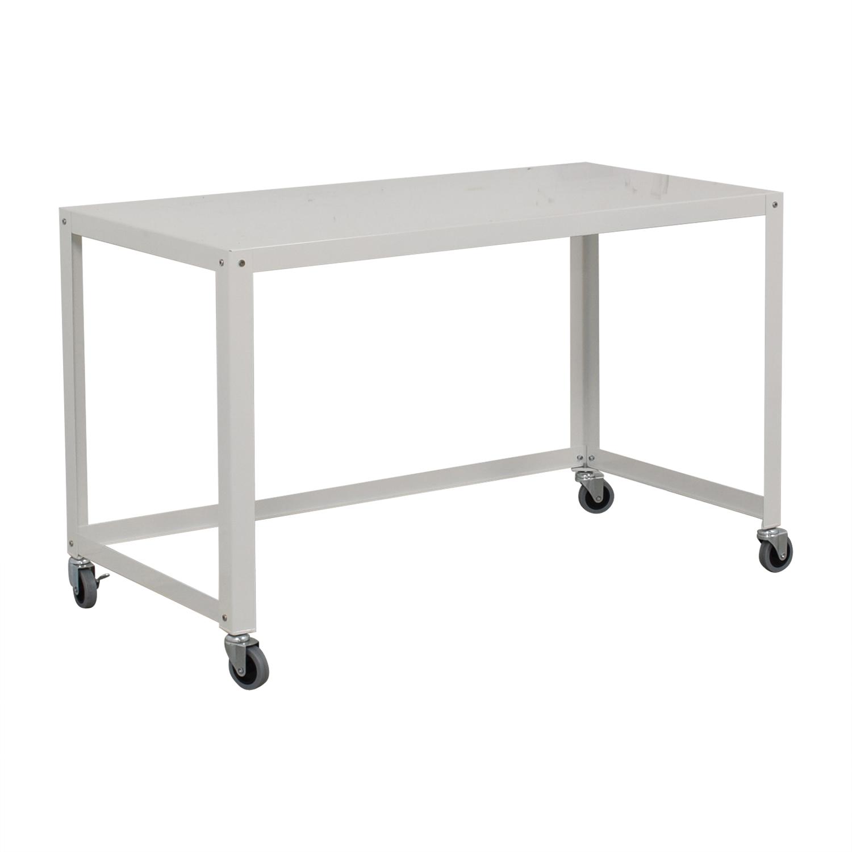 CB2 CB2 Go-Cart White Rolling Desk second hand