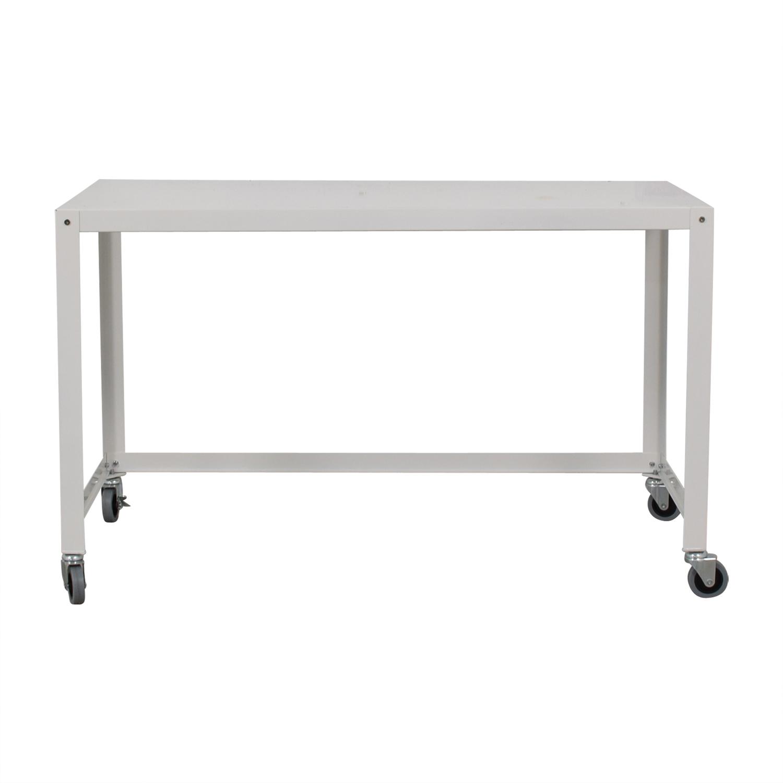 CB2 Go-Cart White Rolling Desk sale