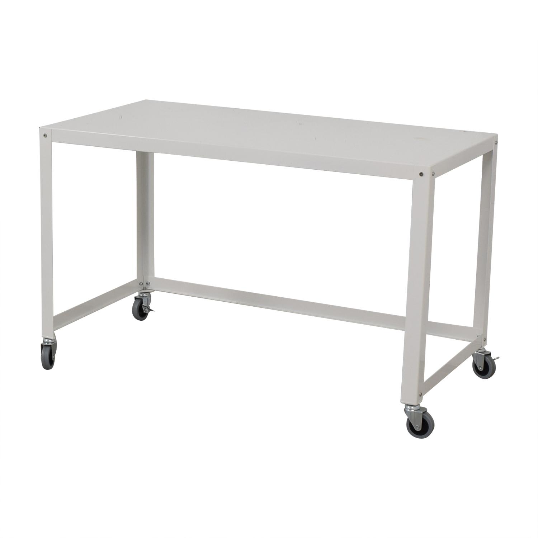 CB2 CB2 Go-Cart White Rolling Desk Tables