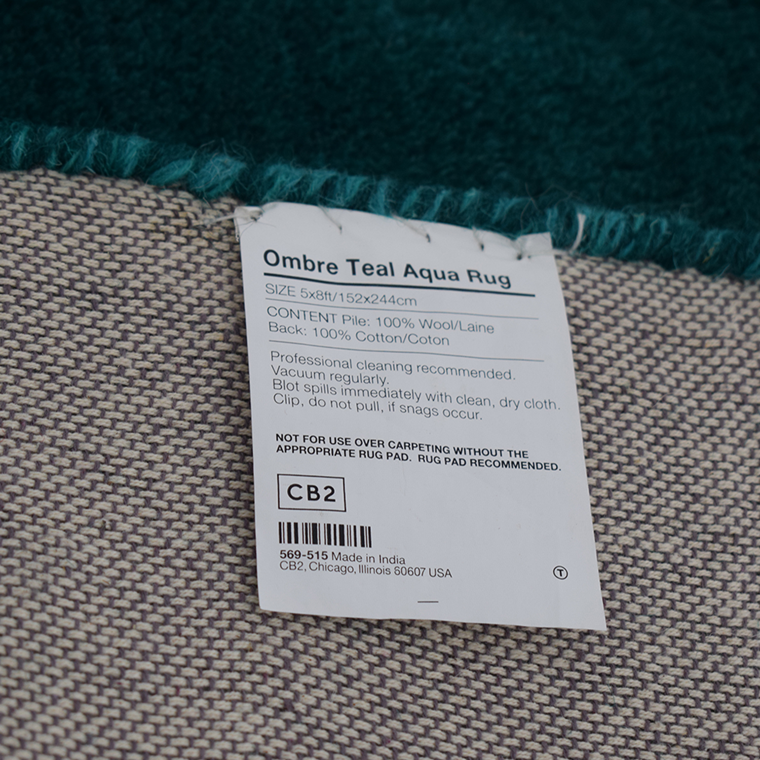 CB2 CB2 Ombre Teal Rug