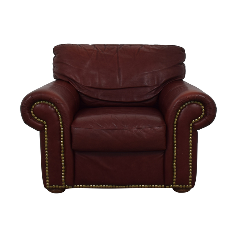 Macy's Macy's Burgundy Nail Head Accent Chair on sale
