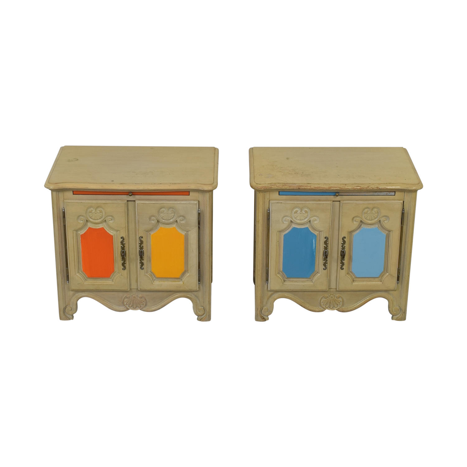 Drexel Drexel Painted French Country Side Tables nj