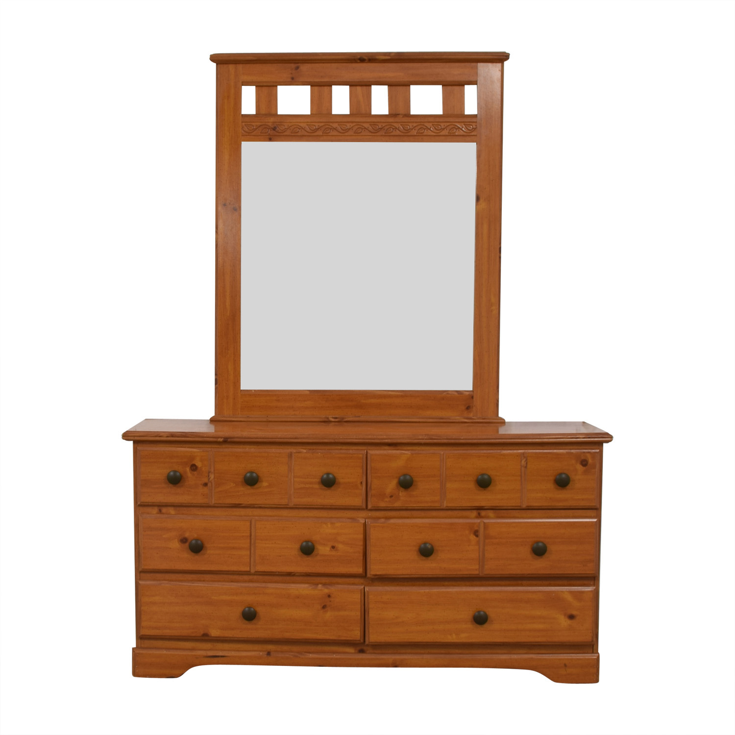 Wood Six-Drawer Dresser with Mirror second hand