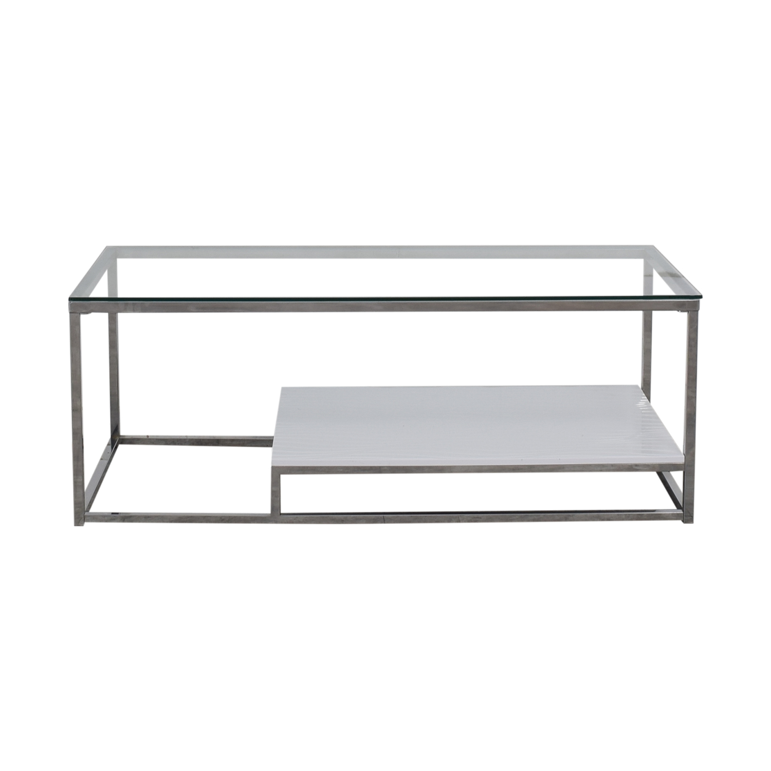 54 Off Wayfair Wayfair Saniya White And Chrome Coffee Table Tables