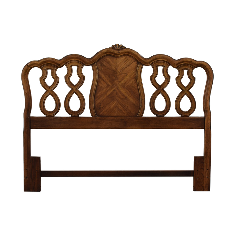 Carved Inlayed Wood Queen Headboard for sale