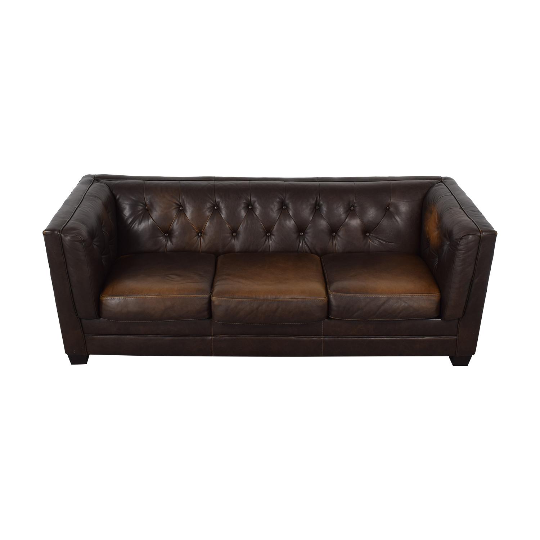 Ashley Furniture Ashley Furniture Brown Tufted Three Cushion Sofa for sale