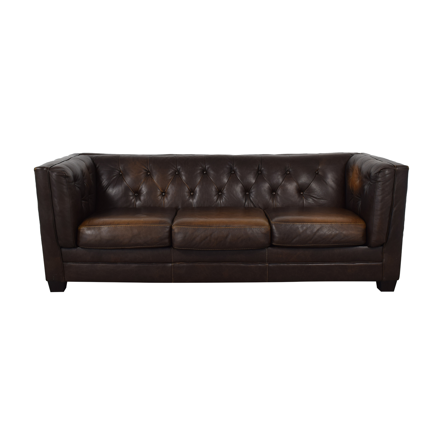 Ashley Furniture Brown Tufted Three Cushion Sofa Dimensions