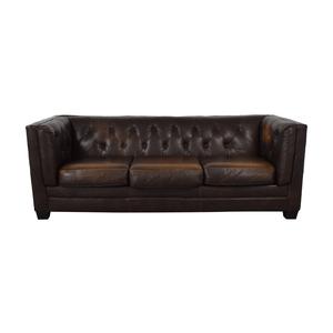 Ashley Furniture Ashley Furniture Brown Tufted Three Cushion Sofa discount
