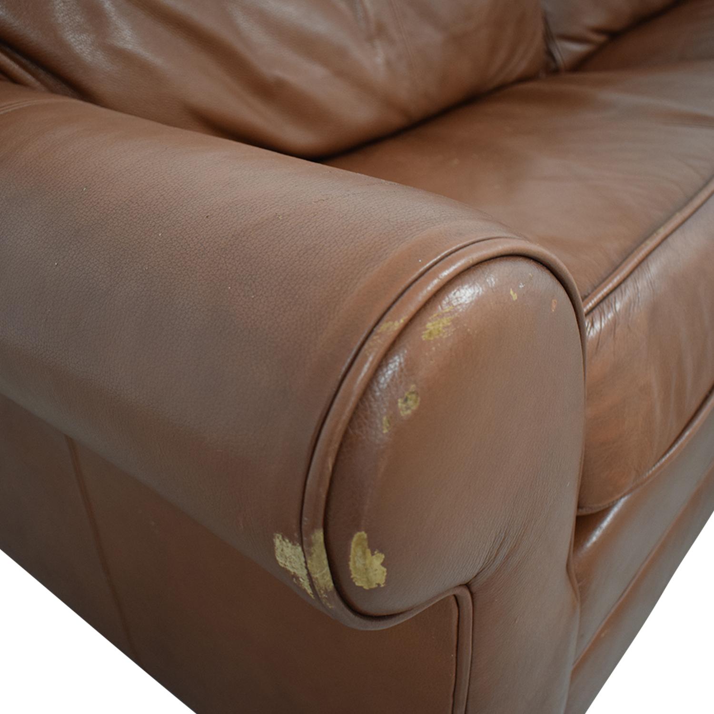 Ethan Allen Ethan Allen Bennett Roll-Arm Queen Sleeper Sofa brown