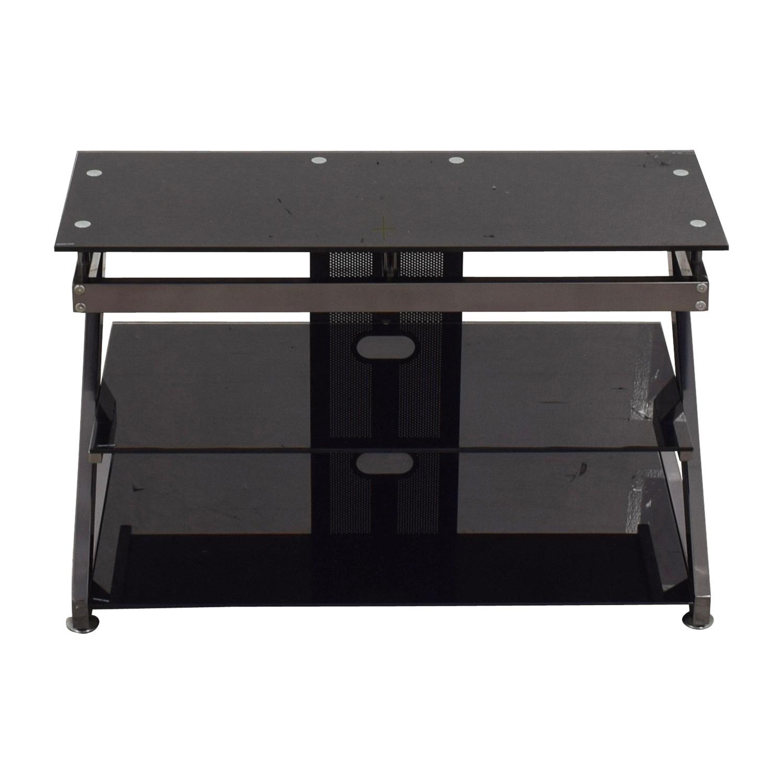 Buy Black And Chrome TV Media Stand Storage