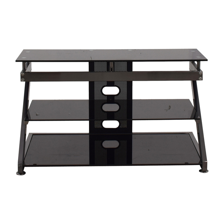 Black and Chrome TV Media Stand nj