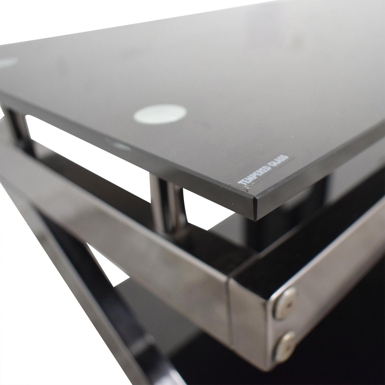 Black and Chrome TV Media Stand