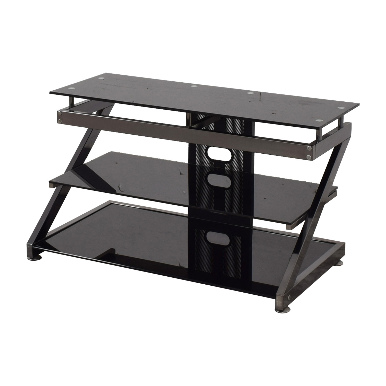 Black and Chrome TV Media Stand nyc